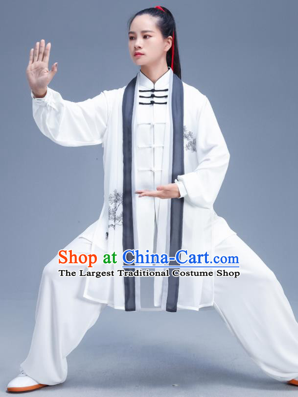 Chinese Traditional Kung Fu Competition Printing Pine White Outfits Martial Arts Stage Show Costumes for Women