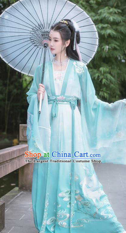 Traditional Chinese Song Dynasty Embroidered Green Hanfu Dress Ancient Goddess Empress Costumes for Women