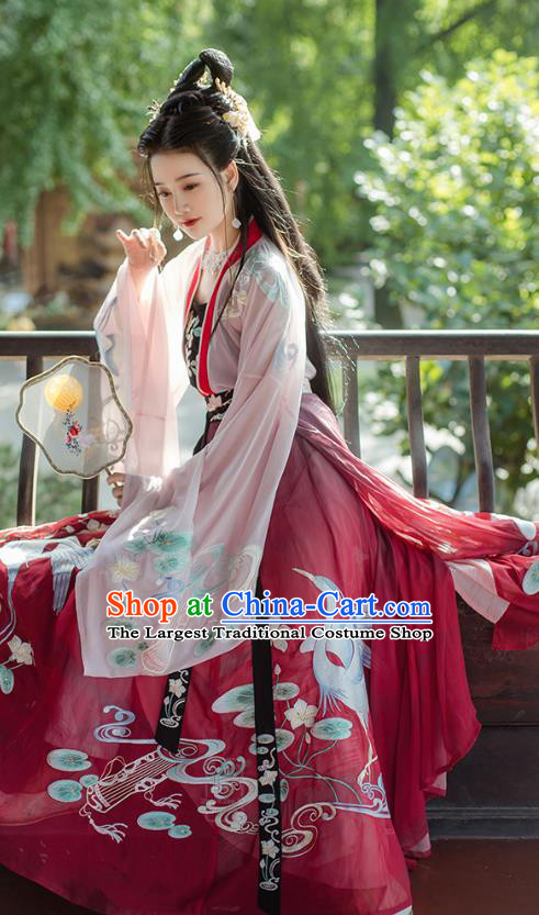 Traditional Chinese Tang Dynasty Princess Embroidered Hanfu Dress Ancient Goddess Costumes for Women