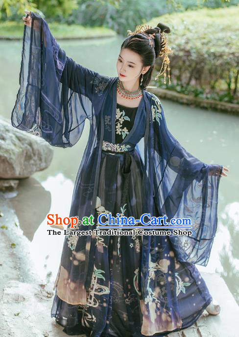Traditional Chinese Tang Dynasty Imperial Consort Embroidered Navy Hanfu Dress Ancient Empress Costumes for Women