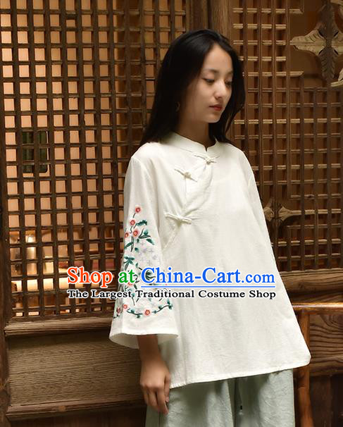 Chinese Tai Chi Embroidered White Flax Blouse Traditional Tang Suit Costume for Women