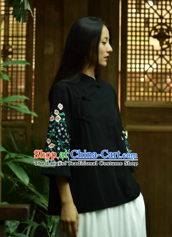 Chinese Tai Chi Embroidered Black Flax Blouse Traditional Tang Suit Costume for Women