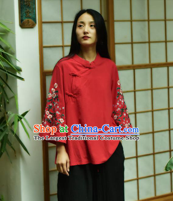 Chinese Tai Chi Embroidered Red Flax Blouse Traditional Tang Suit Costume for Women