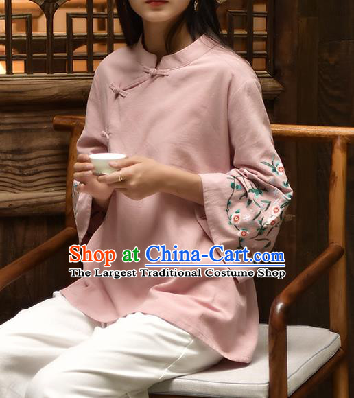 Chinese Tai Chi Embroidered Pink Flax Blouse Traditional Tang Suit Costume for Women