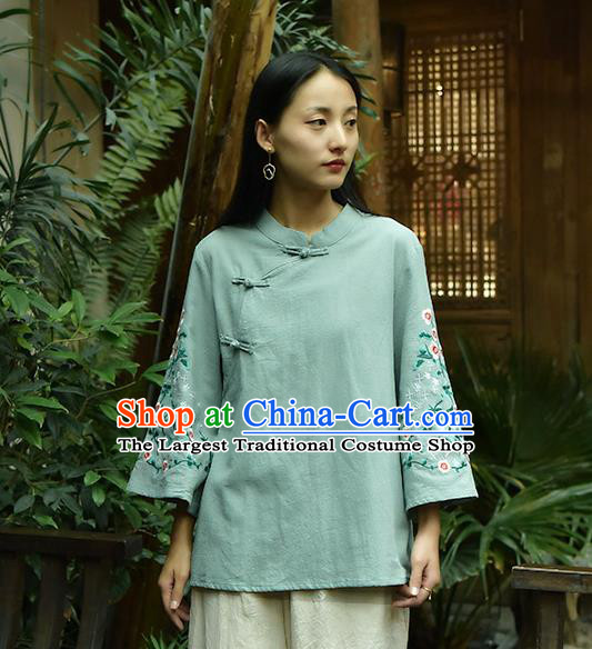 Chinese Tai Chi Embroidered Green Flax Blouse Traditional Tang Suit Costume for Women