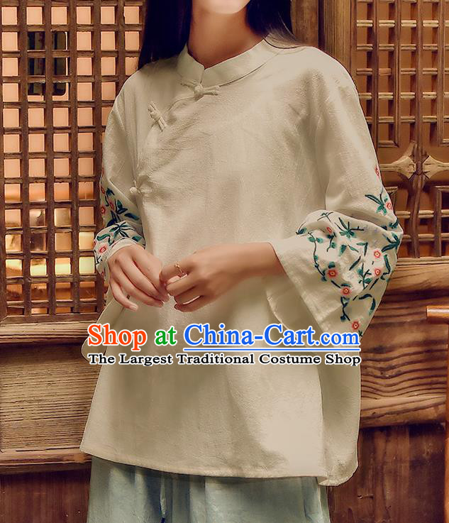 Chinese Tai Chi Embroidered Beige Flax Blouse Traditional Tang Suit Costume for Women