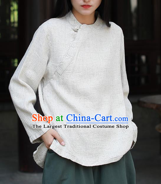 Chinese Tai Chi White Flax Blouse Traditional Tang Suit Costume for Women