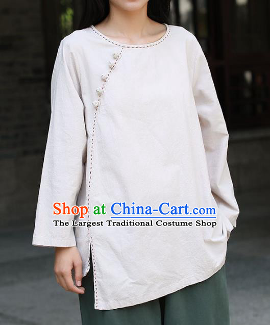 Chinese Tai Chi White Flax Slant Opening Blouse Traditional Tang Suit Costume for Women