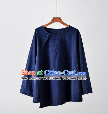 Chinese Tai Chi Navy Flax Slant Opening Blouse Traditional Tang Suit Costume for Women