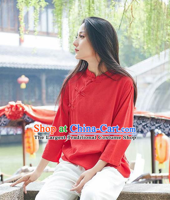 Chinese Tang Suit Red Flax Slant Opening Blouse Traditional Tai Chi Costume for Women