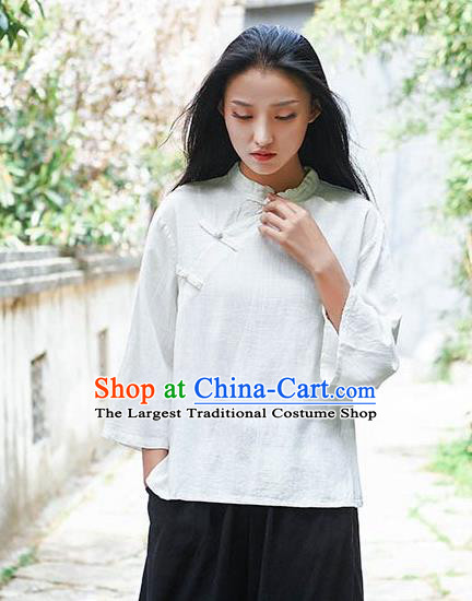 Chinese Tang Suit White Flax Slant Opening Blouse Traditional Tai Chi Costume for Women