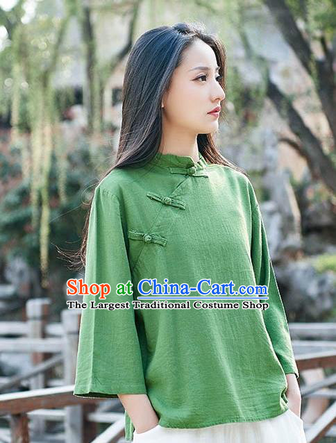 Chinese Tang Suit Green Flax Slant Opening Blouse Traditional Tai Chi Costume for Women