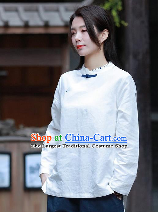 Chinese Tang Suit White Blouse Upper Outer Garment Traditional Tai Chi Costume for Women