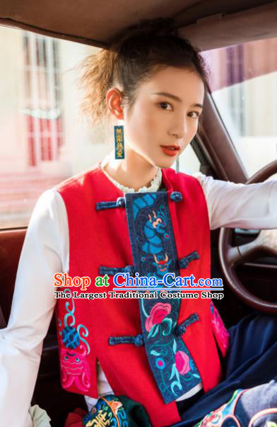 Chinese Embroidered Red Vest Upper Outer Garment Traditional Tang Suit Waistcoat Costume for Women