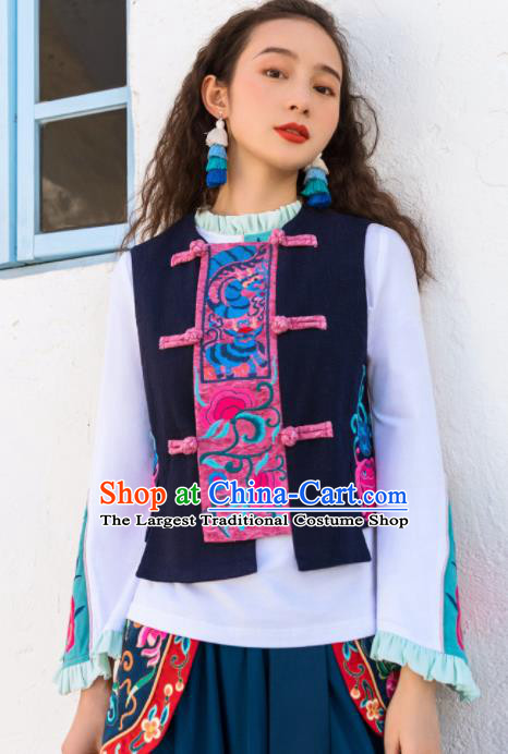 Chinese Embroidered Navy Vest Upper Outer Garment Traditional Tang Suit Waistcoat Costume for Women