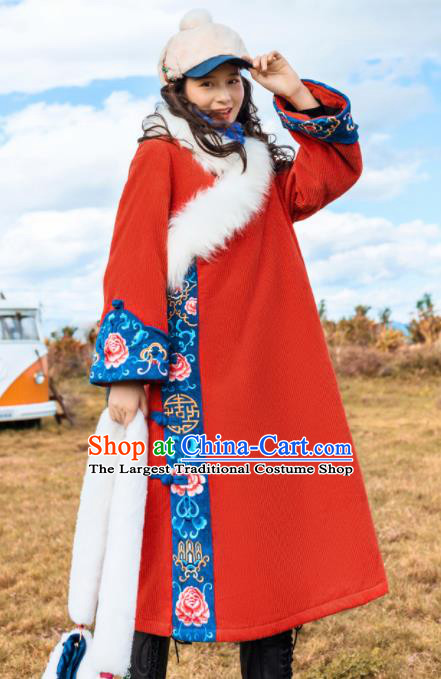 Chinese Traditional Embroidered Red Woolen Dust Coat National Overcoat Costumes for Women