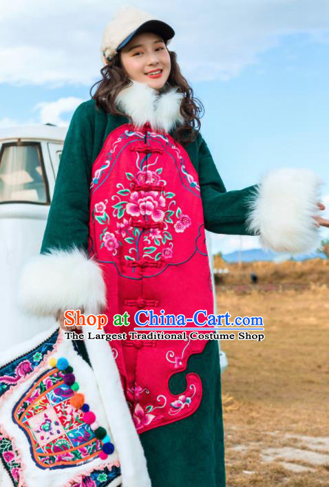 Chinese Traditional Embroidered Cotton Padded Dust Coat National Overcoat Costumes for Women
