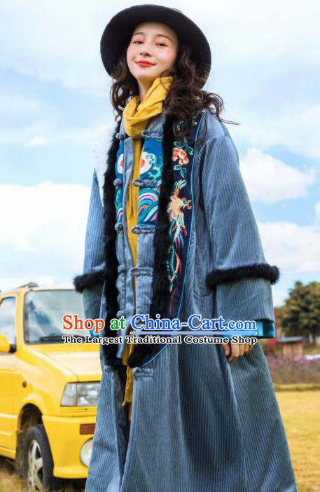 Chinese Traditional Embroidered Grey Cotton Padded Dust Coat National Overcoat Costumes for Women