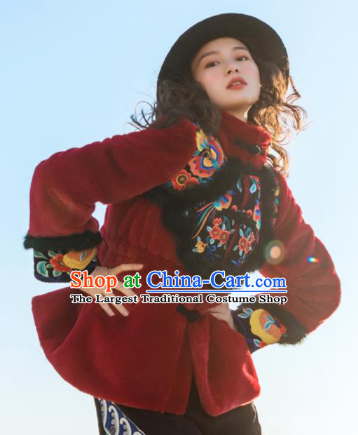 Chinese Traditional Embroidered Red Imitation Fur Jacket National Overcoat Costumes for Women