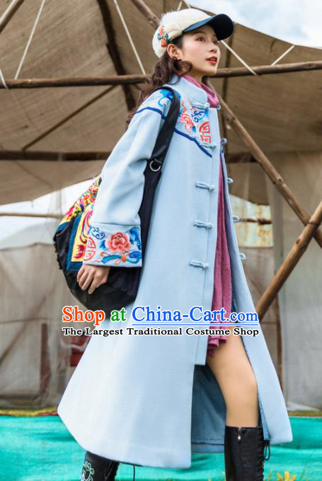 Chinese Traditional Embroidered Peony Blue Woolen Dust Coat National Overcoat Costumes for Women