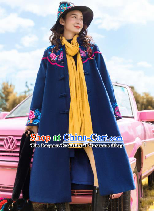 Chinese Traditional Embroidered Peony Navy Woolen Dust Coat National Overcoat Costumes for Women