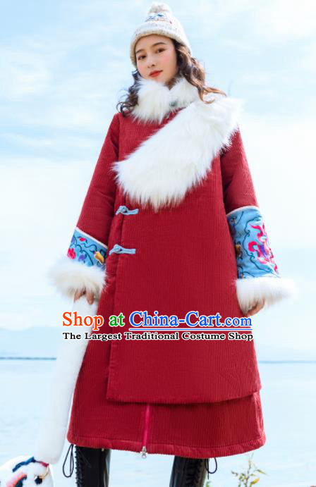 Chinese Traditional Embroidered Red Corduroy Dust Coat National Overcoat Costumes for Women