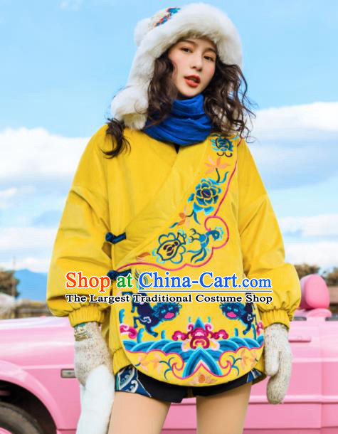 Chinese Traditional Embroidered Yellow Cotton Padded Jacket National Overcoat Costumes for Women