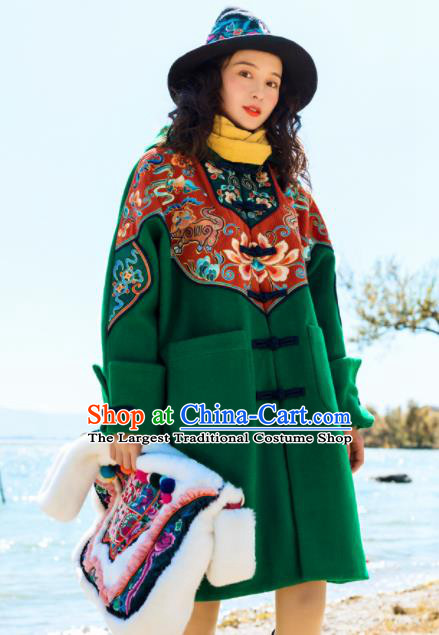 Chinese Traditional Embroidered Green Woolen Jacket National Overcoat Costumes for Women