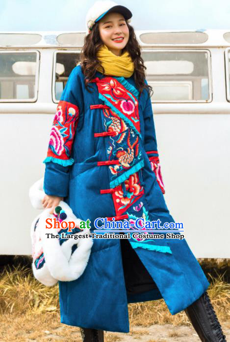 Chinese Traditional Embroidered Blue Cotton Padded Coat National Overcoat Costumes for Women