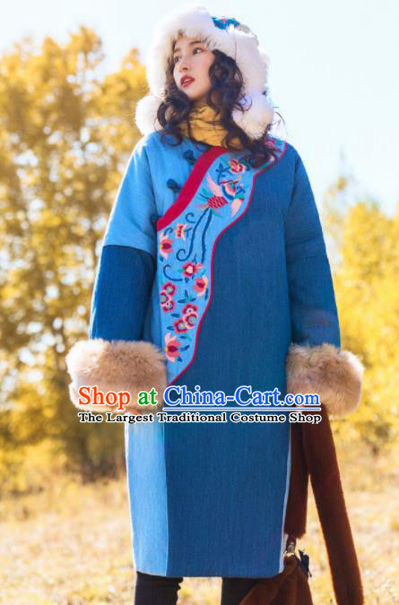 Chinese Traditional Embroidered Blue Corduroy Cotton Padded Coat National Overcoat Costumes for Women