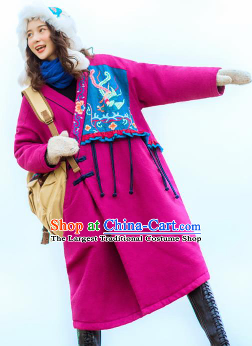 Chinese Traditional Embroidered Rosy Cotton Padded Coat National Overcoat Costumes for Women