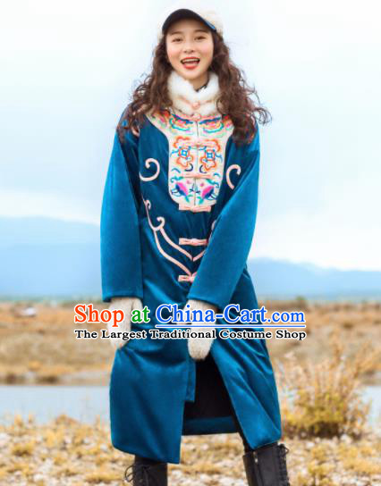 Chinese Traditional Winter Embroidered Blue Dust Coat National Tang Suit Overcoat Costumes for Women