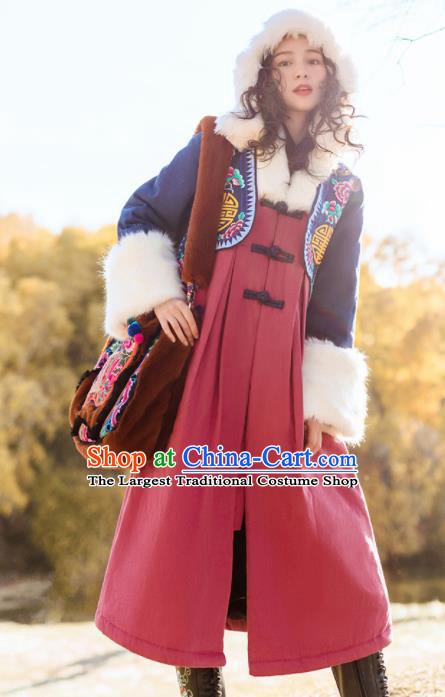 Chinese Traditional Winter Embroidered Dust Coat National Tang Suit Overcoat Costumes for Women