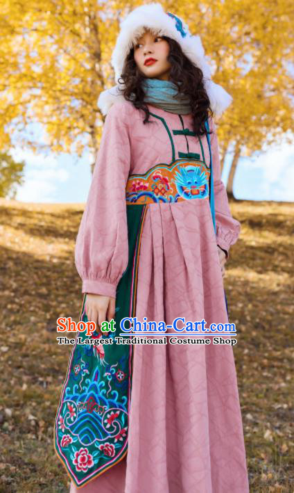 Chinese Traditional Embroidered Dragon Pink Dress National Tang Suit Costumes for Women