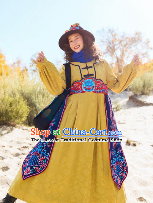 Chinese Traditional Embroidered Dragon Yellow Dress National Tang Suit Costumes for Women