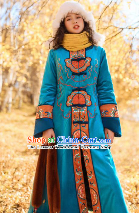 Chinese Traditional Winter Embroidered Blue Velvet Dust Coat National Tang Suit Overcoat Costumes for Women