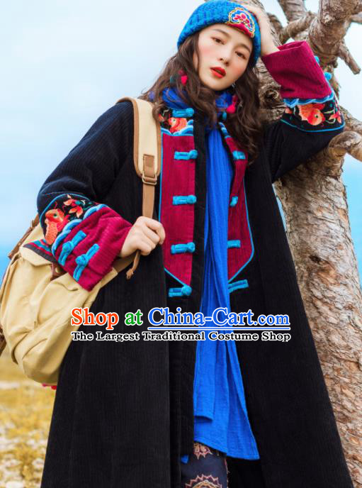Chinese Traditional Winter Embroidered Black Dust Coat National Tang Suit Overcoat Costumes for Women