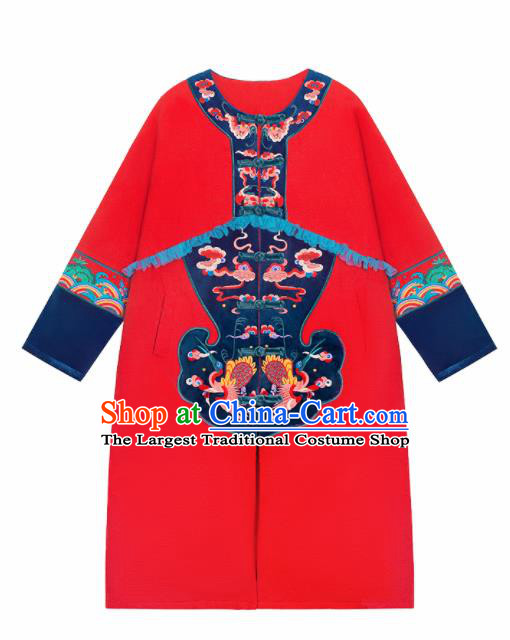 Chinese Traditional Winter Embroidered Phoenix Red Dust Coat National Tang Suit Overcoat Costumes for Women