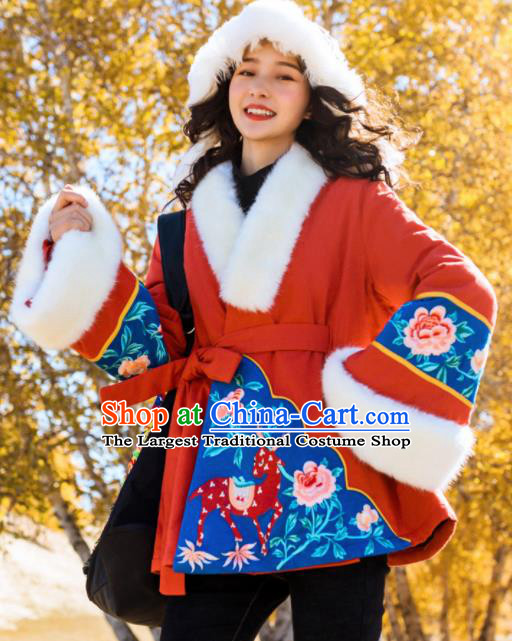 Chinese Traditional Embroidered Red Jacket National Tang Suit Overcoat Costumes for Women