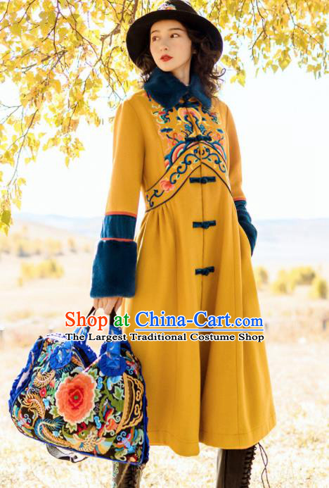 Chinese Traditional Embroidered Ginger Woolen Dust Coat National Tang Suit Overcoat Costumes for Women