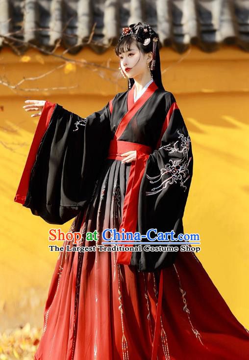 Traditional Chinese Jin Dynasty Patrician Lady Black Hanfu Dress Ancient Royal Princess Embroidered Costumes for Women