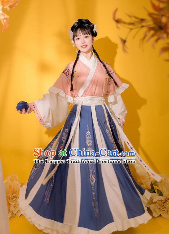 Traditional Chinese Jin Dynasty Royal Princess Pink Hanfu Dress Ancient Goddess Costumes for Women