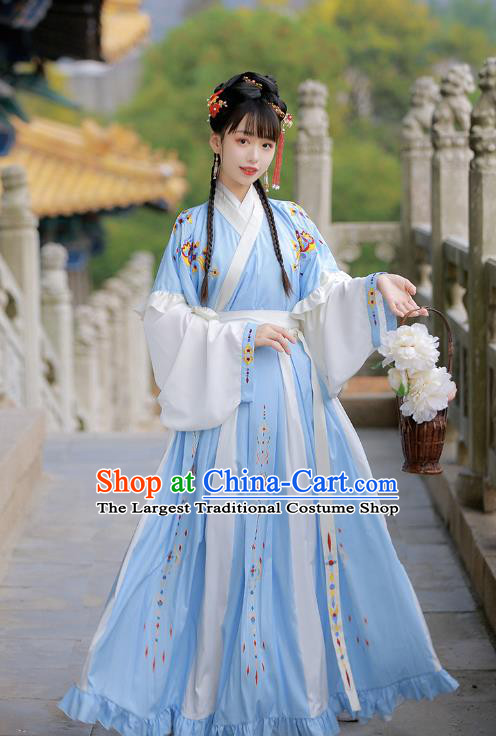Traditional Chinese Jin Dynasty Patrician Lady Historical Costumes Ancient Wealthy Girl Blue Hanfu Dress for Women