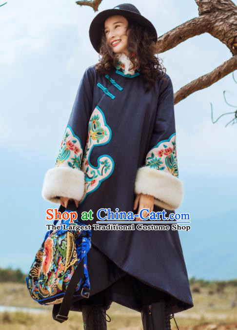 Chinese Traditional Winter Embroidered Navy Dust Coat National Tang Suit Overcoat Costumes for Women