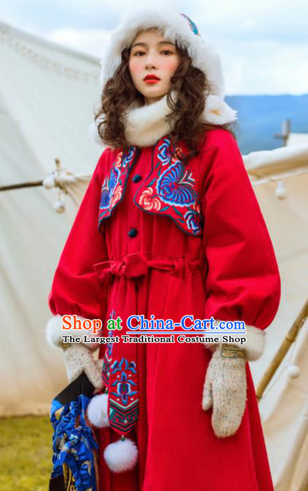 Chinese Traditional Winter Embroidered Red Dust Coat National Tang Suit Overcoat Costumes for Women