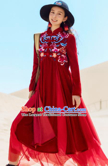 Chinese Traditional Embroidered Wine Red Qipao Dress National Tang Suit Costumes for Women