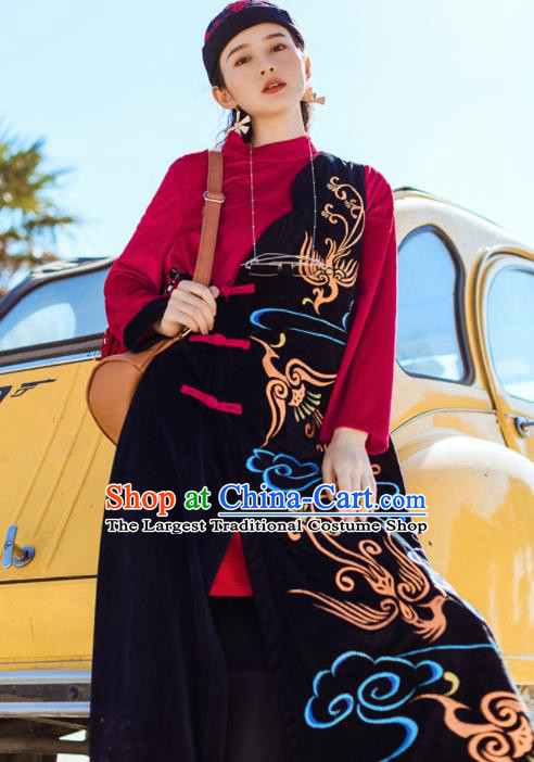 Chinese Traditional Embroidered Cloud Black Qipao Dress National Tang Suit Costumes for Women