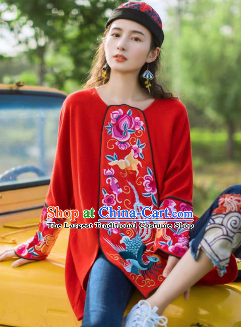 Chinese Traditional Embroidered Red Blouse National Upper Outer Garment Tang Suit Shirt Costume for Women