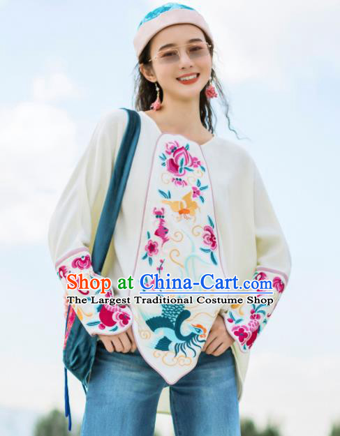 Chinese Traditional Embroidered White Blouse National Upper Outer Garment Tang Suit Shirt Costume for Women