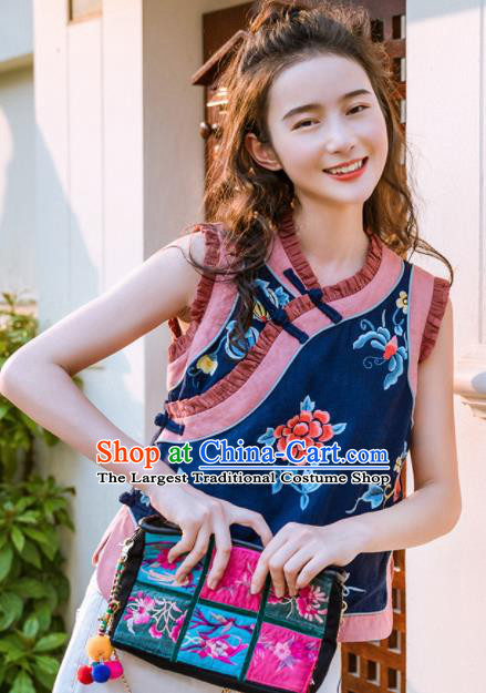 Chinese Traditional Embroidered Peony Navy Vest National Upper Outer Garment Tang Suit Waistcoat Costume for Women